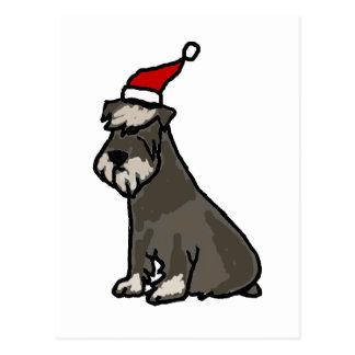 Schnauzer divertido en gorra del navidad tarjetas postales