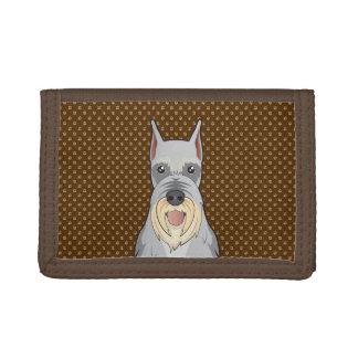 Schnauzer Dog Cartoon Paws Trifold Wallet