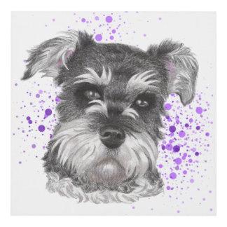 Schnauzer Dog Drawing Panel Wall Art