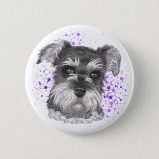Schnauzer Dog Drawing Pinback Button