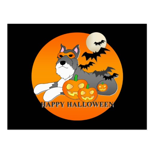 Schnauzer Dog Halloween Post Cards