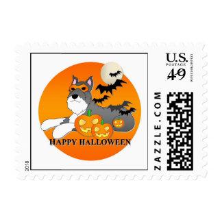 Schnauzer Dog Halloween Postage