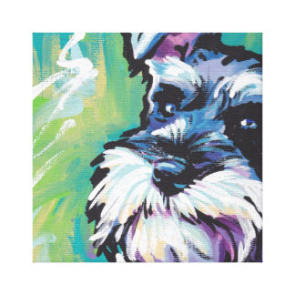 Schnauzer Dog Pop Art on Stretched Canvas Canvas Print
