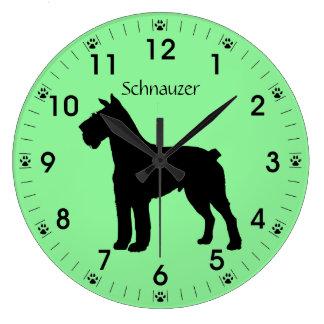 Schnauzer Dog Silhouette Personalized Clock
