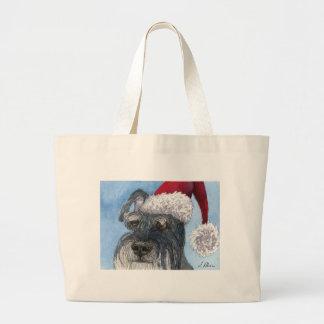 Schnauzer dog wearing Santa hat Bags