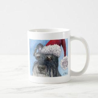Schnauzer dog wearing Santa hat Coffee Mug