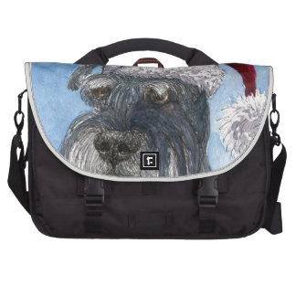Schnauzer dog wearing Santa hat Computer Bag