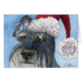 Schnauzer dog wearing Santa hat Greeting Cards