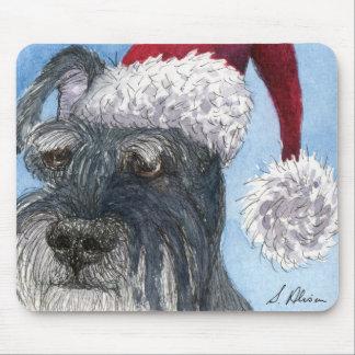 Schnauzer dog wearing Santa hat Mousepad