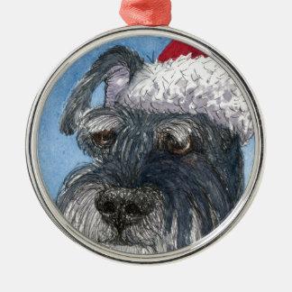 Schnauzer dog wearing Santa hat Ornament