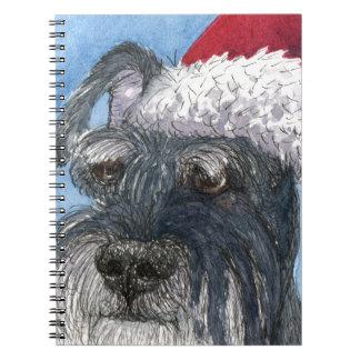 Schnauzer dog wearing Santa hat Spiral Note Books