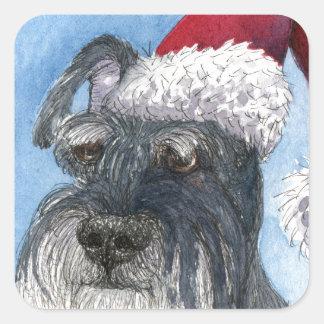 Schnauzer dog wearing Santa hat Square Sticker