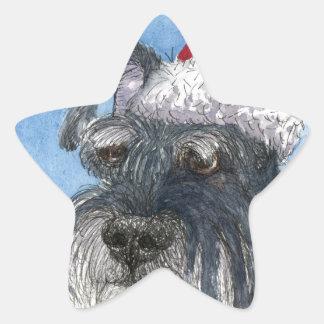Schnauzer dog wearing Santa hat Star Stickers
