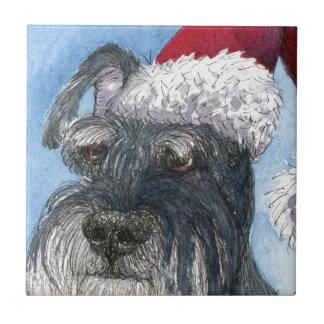 Schnauzer dog wearing Santa hat Tile