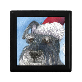 Schnauzer dog wearing Santa hat Trinket Box