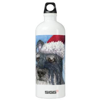 Schnauzer dog wearing Santa hat Water Bottle