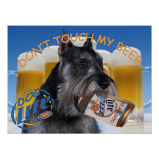 SCHNAUZER DON'T TOUCH MY BEER ART POSTER
