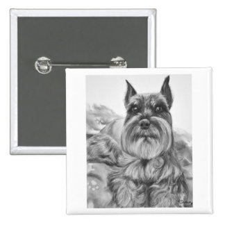 Schnauzer Drawing two Button