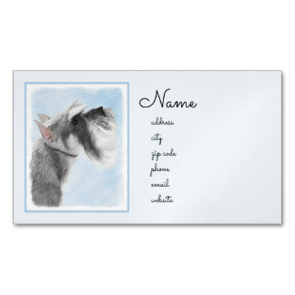 Schnauzer (Giant, Standard) Painting - Dog Art Business Card Magnet