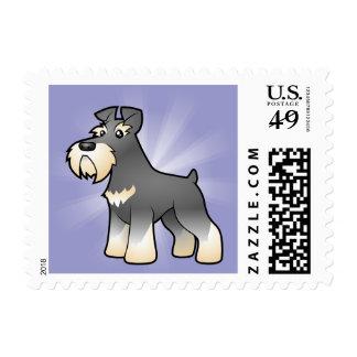 Schnauzer gigante/estándar/miniatura del dibujo timbres postales