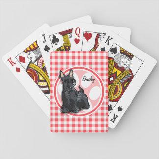 Schnauzer; Guinga roja y blanca Baraja De Póquer