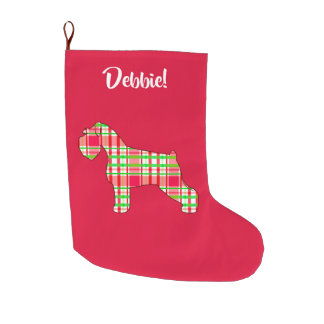 Schnauzer in Plaid at the Holidays Large Christmas Stocking