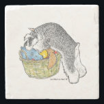 "Schnauzer in Toy Basket Marble Coaster<br><div class=""desc"">Adorable drawing by Lori Bush of the salt &amp; pepper schnauzer exploring in its toy basket.</div>"