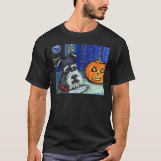 Schnauzer investigates glowing pumpkin Halloween T-Shirt