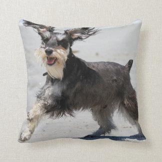 Schnauzer - Jr is a Happy Boy! Beach Dogs Throw Pillow