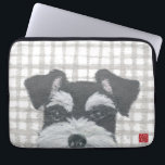 """Schnauzer Laptop Sleeve<br><div class=""""desc"""">The design is from the mixed media art of hand-torn newspaper collage art and handmade stencil pattern &quot;Schnauzer And Gray Plaid&quot;.</div>"""