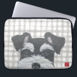 "Schnauzer Laptop Sleeve<br><div class=""desc"">The design is from the mixed media art of hand-torn newspaper collage art and handmade stencil pattern &quot;Schnauzer And Gray Plaid&quot;.</div>"