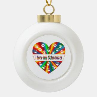 Schnauzer Love Ceramic Ball Christmas Ornament