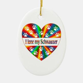 Schnauzer Love Ceramic Ornament