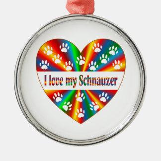 Schnauzer Love Metal Ornament