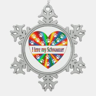 Schnauzer Love Snowflake Pewter Christmas Ornament