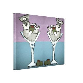 Schnauzer Martini Double the Trouble Canvas Art