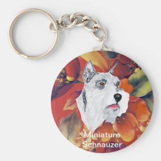 Schnauzer miniatura - diseño floral del otoño llavero personalizado