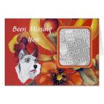 Schnauzer miniatura - diseño floral del otoño tarjeta de felicitación