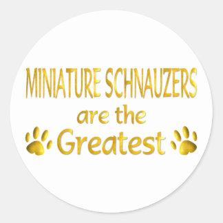 Schnauzer miniatura etiqueta redonda