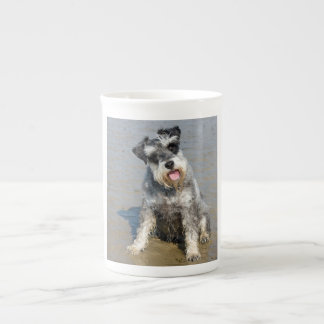 Schnauzer miniature dog cute photo at beach, gift bone china mugs