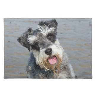 Schnauzer miniature dog cute photo portrait cloth placemat