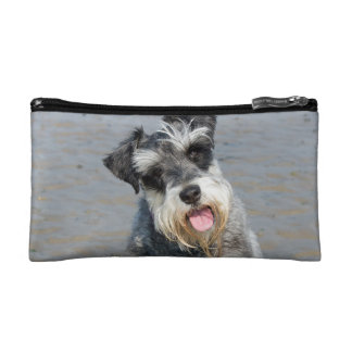 Schnauzer miniature dog cute photo portrait, gift cosmetic bag