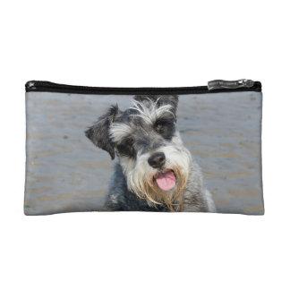 Schnauzer miniature dog cute photo portrait, gift makeup bags