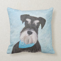 Schnauzer (Miniature) Painting - Cute Original Dog Throw Pillow