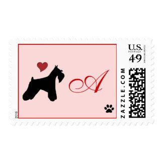 Schnauzer Monogram Postage Stamp