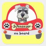 Schnauzer on Board Square Sticker