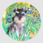 Schnauzer Pup 10Znat - Irises Classic Round Sticker