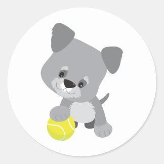 Schnauzer Puppy and Ball Classic Round Sticker