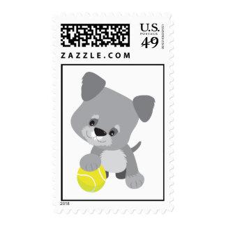 Schnauzer Puppy and Ball Postage