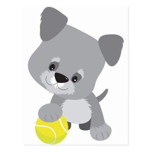 Schnauzer Puppy and Ball Postcard